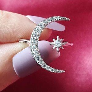 NEw Star/moon open adjustable sterling silverring